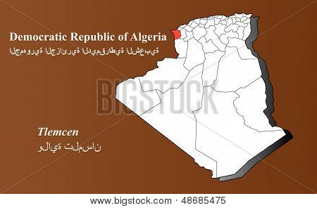 Algeria map in 3D on brown background. Tlemcen highlighted. poster