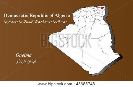 Algeria map in 3D on brown background. Guelma highlighted. poster