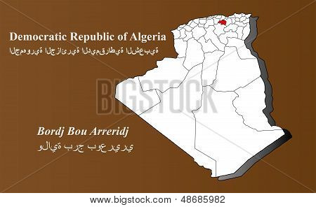 Algeria map in 3D on brown background. Bordj Bou Arreridj highlighted. poster