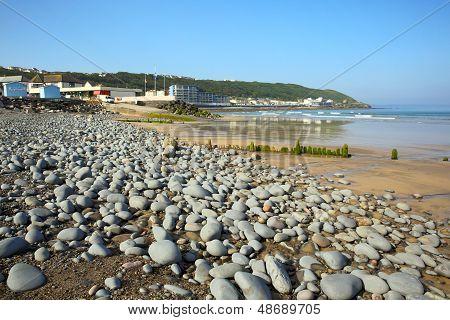 Westward Ho beach and coast Devon England