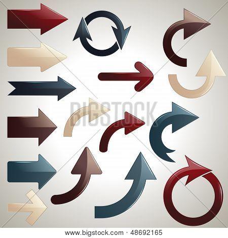 Vector Set Of Shiny Arrows