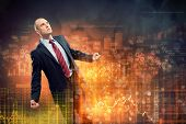 Image of young businessman in anger against illustration background poster