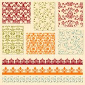 Vector bright seamless paterns and seamless lacy ribbons fully editable eps10 file seamless patterns in swatch menu seamless pattern brushes included shadows with transparency effects on separate layer poster