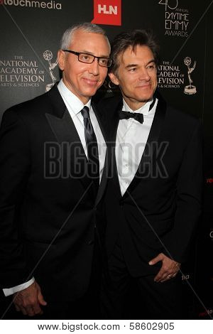 Drew Pinsky and Mehmet Oz at the 40th Annual Daytime Emmy Awards, Beverly Hilton Hotel, Beverly Hills, CA 06-16-13