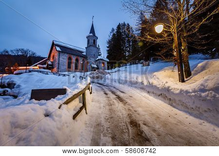 Church In The Village Of Madonna Di Campiglio In The Morning, Italian Alps, Italy