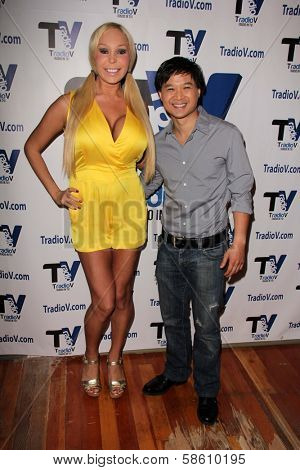 Mary Carey and Dat Phan on the set of