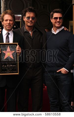 Jerry Bruckheimer, Johnny Depp, Tom Cruise at the Jerry Bruckheimer Star on the Hollywood Walk of Fame ceremony, Hollywood, CA 06-24-13