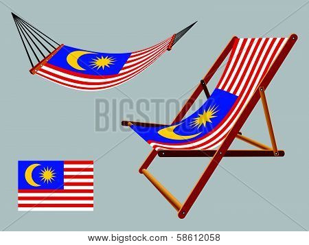 malaysia hammock and deck chair set against gray background abstract vector art illustration poster