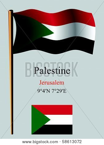 Palestine wavy flag and coordinates against gray background vector art illustration image contains transparency poster