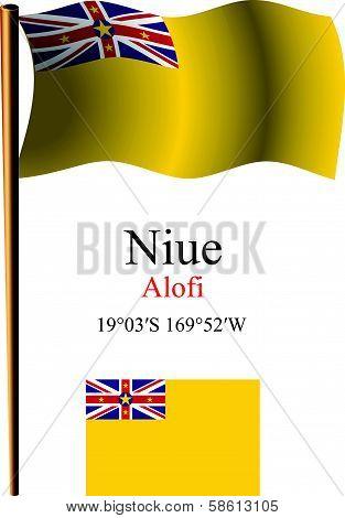 Niue Wavy Flag And Coordinates