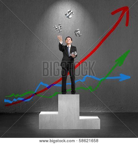 Businessman Throwing And Catching 3D Sliver Money Symbols On Podium