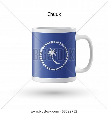 Chuuk flag souvenir mug isolated on white background. Vector illustration. poster