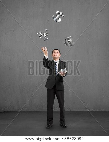 Businessman Catching And Throwing 3D Sliver Money Symbols