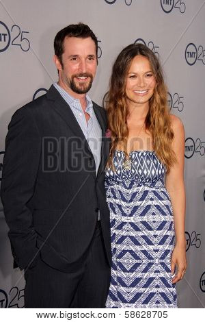 Noah Wyle and Moon Bloodgood at the TNT 25th Anniversary Party, Beverly Hilton Hotel, Beverly Hills, CA 07-24-13