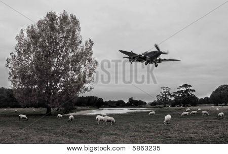 a Spitfire over farmland