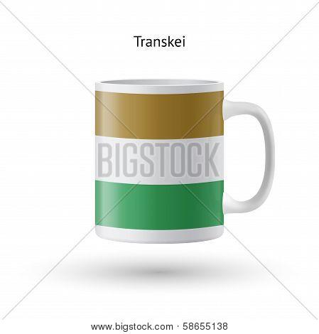 Transkei flag souvenir mug on white background.