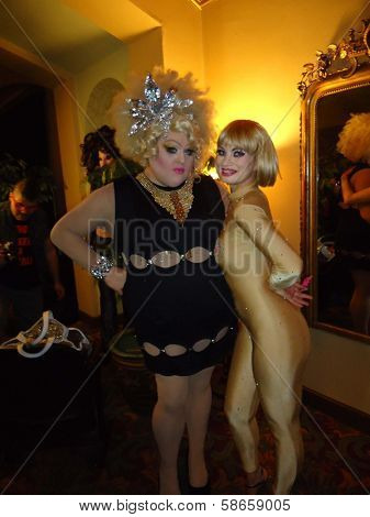 Lady Bear and Rena Riffel at the Peaches Christ SHOWGIRLS Night of 1000 Showgirls Event featuring Rena Riffel, Castro Theater, San Francisco, CA 08-24-13
