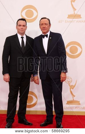 Kevin Spacey and Dana Brunetti at the 65th Annual Primetime Emmy Awards Arrivals, Nokia Theater, Los Angeles, CA 09-22-13