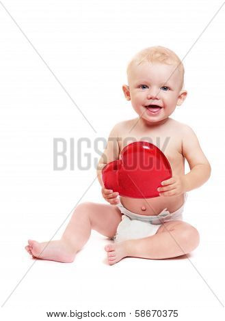 Child With Toy In Form Heart