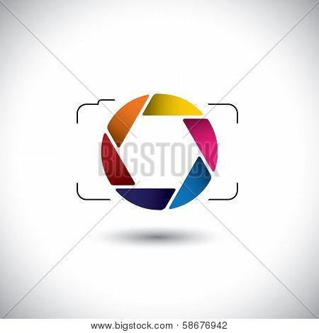 Abstract Point & Shoot Digital Camera With Colorful Shutter Icon
