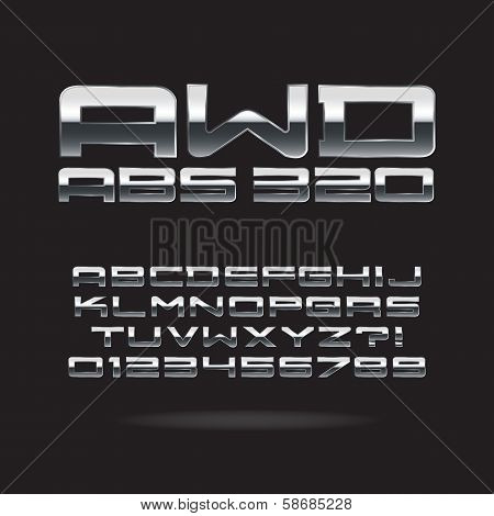 Metallic Chrome Font And Numbers, Eps 10 Vector, Editable For Any Background