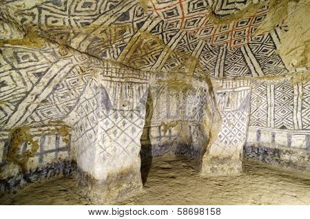 Colombia Tierradentro (7th and 9th) is one great pre Columbian attractions. There are burial caves painted with red black and whte geometric patterns. Some are shallow others up to 8m deep poster