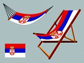 serbia hammock and deck chair set against gray background abstract vector art illustration poster