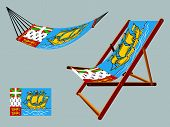 saint pierre and miquelon hammock and deck chair set against gray background abstract vector art illustration poster