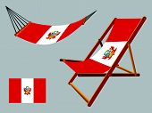 peru hammock and deck chair set against gray background abstract vector art illustration poster