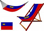 liechtenstein hammock and deck chair set against white background abstract vector art illustration poster