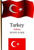 turkey wavy flag and coordinates against white background vector art illustration image contains transparency poster