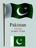 Pakistan wavy flag and coordinates against gray background vector art illustration image contains transparency poster