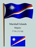 marshall islands wavy flag and coordinates against gray background vector art illustration image contains transparency poster
