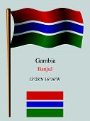 gambia wavy flag and coordinates against gray background vector art illustration image contains transparency poster