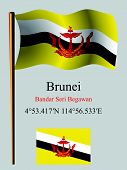 brunei wavy flag and coordinates against gray background vector art illustration image contains transparency poster