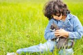 Very cute little girl with cat on meadow poster