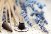 incense cones and lavender flowers - aromatherapy poster