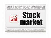 Business concept: newspaper headline Stock Market and Growth Graph icon on White background, 3d render poster