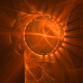 Abstract elegance background. Orange - black palette. Raster fractal graphics. poster