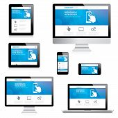 Modern responsive web design computer, laptop, tablet and smartphone vectors isolated on white poster