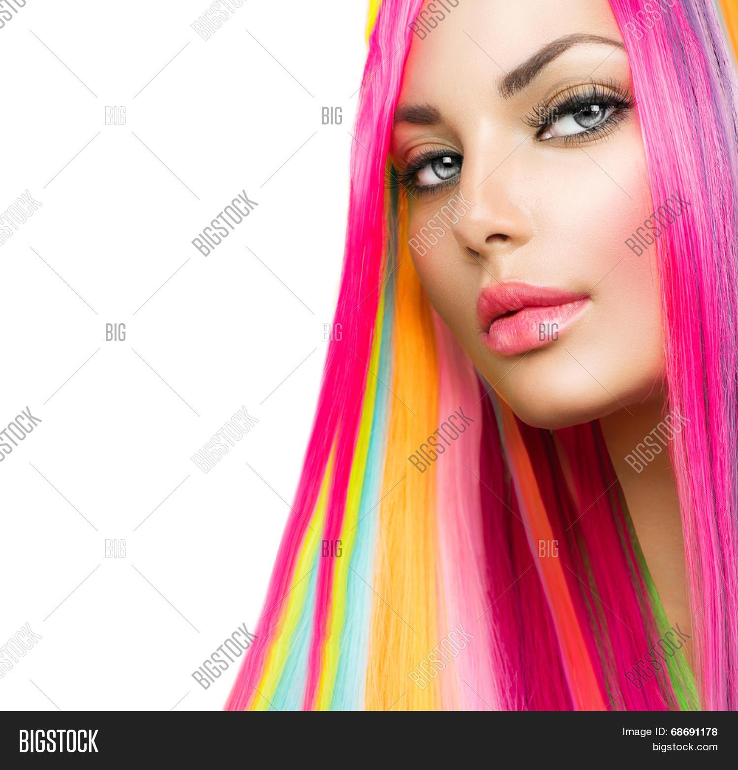 Colorful Hair Makeup Image Photo Free Trial Bigstock