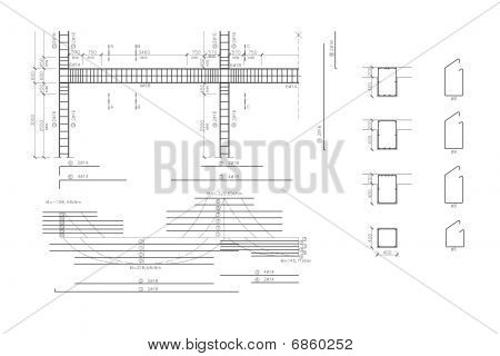 Construction drawing, concrete armature