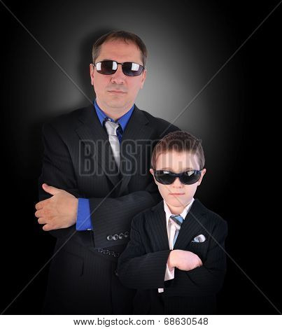 Father And Son Secret Agents With Sunglasses