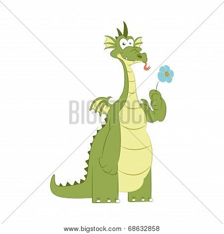 Vector image of good dragon with flower poster