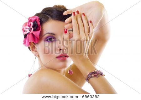 beautiful lady with bright purple make-up & beautiful broch and accessories poster