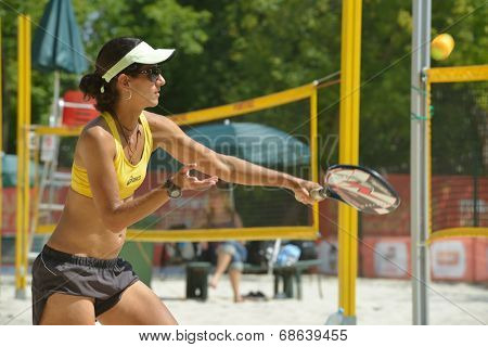 MOSCOW, RUSSIA - JULY 16, 2014: Joana Cortez of Brazil on the training before the ITF Beach Tennis World Team Championship. Russia hosts the championship for the third time