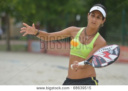 MOSCOW, RUSSIA - JULY 17, 2014: Joana Cortez of Brazil on the training before the ITF Beach Tennis World Team Championship. Russia hosts the championship for the third time