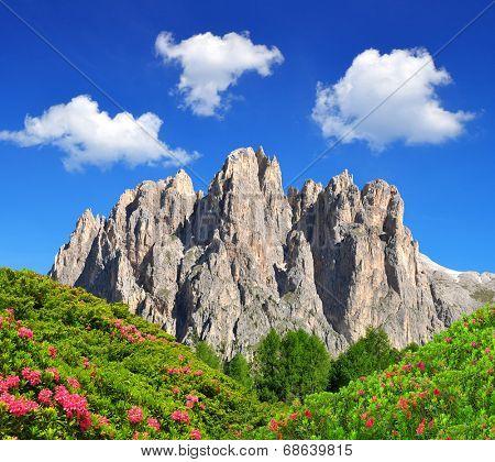 Dolomite peaks, Rosengarten ,Val di Fassa, Italy Alps