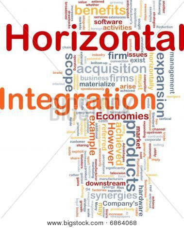 Background concept wordcloud illustration of business horizontal integration poster