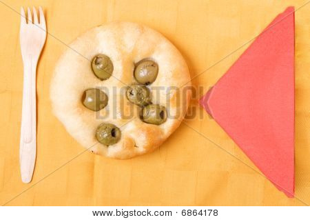Flat bread with olive